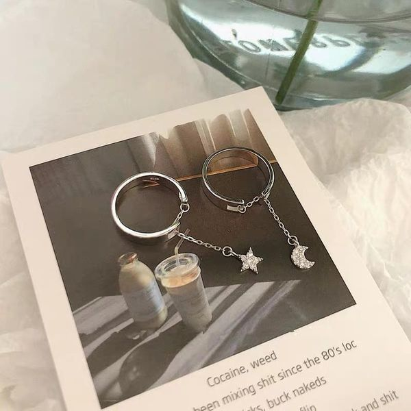 Fashion Star Moon Fringe Micro Zircon Open Ring NHYQ171146