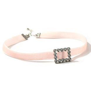 Gargantilla chica con cadena de clavícula de cristal rosa corazón corto gargantilla NHLL170980's discount tags