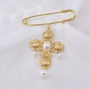 2019 autumn and winter new submetal cross pearl brooch NHNT171066
