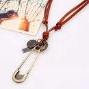 Korean retro leather rope alloy necklace NHPK171084