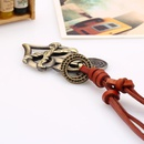 Fashion leather rope leather adjustable alloy heart necklace NHPK171093