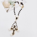 New Baroque Fashion Pearl Cross Long Earrings Necklace Set NHWJ170983