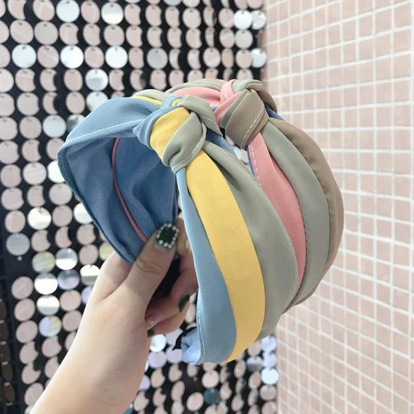 Korean color matching fabric hit color knot knotted wide-brimmed headband NHSM171459