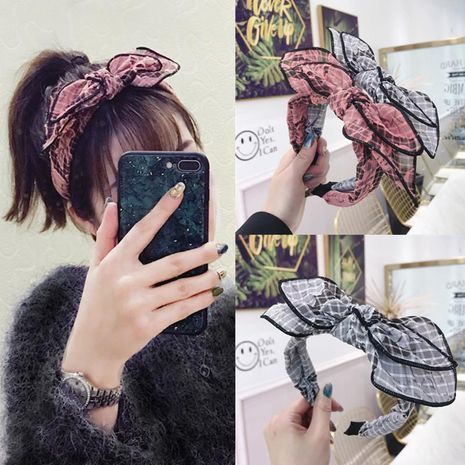 Korean version of the three-dimensional flower embroidery large bow headband NHSM171461's discount tags