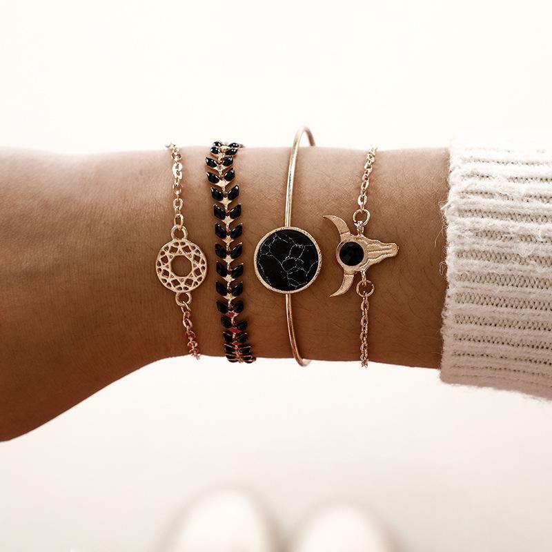 Personality Round Black Marble Pattern Tauren Leaf Bracelet 4 Piece Set NHGY171270