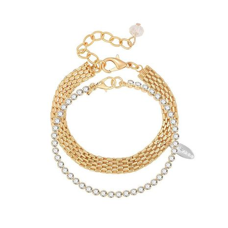 Fashion exaggerated geometric double-layer diamond alloy bracelet NHXS171463's discount tags