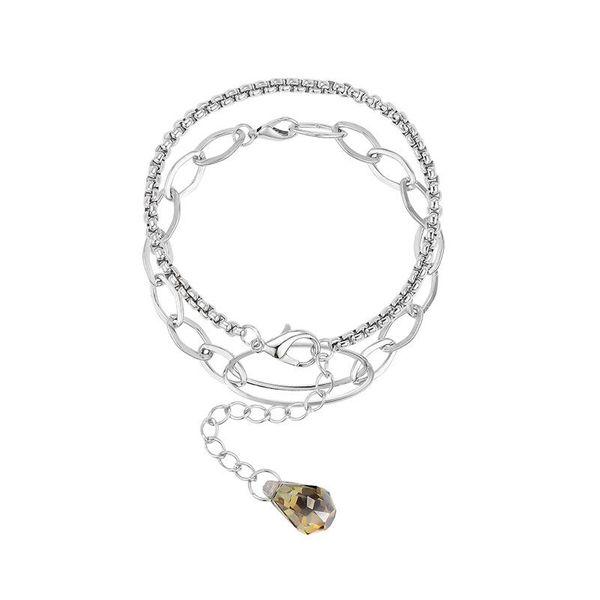 Fashion double layer geometric rhinestone alloy neutral metal wind bracelet NHXS171465