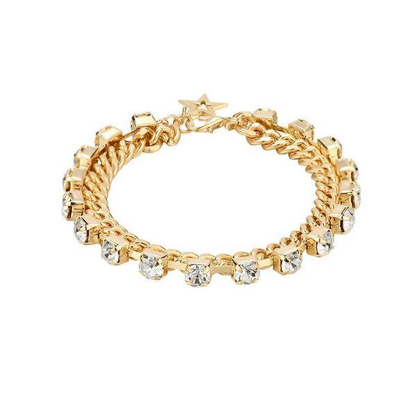 Creative geometric five-pointed star diamond double-layer copper chain fashion bracelet NHXS171466