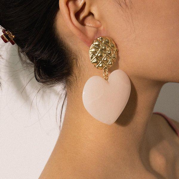 Retro wild geometric tassel simple texture colored peach heart stud earrings NHXR171369