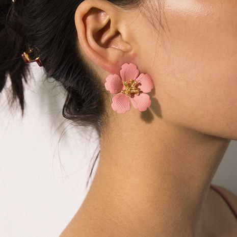 Simple sweet geometric color flower rice beads simulation earrings NHXR171371's discount tags