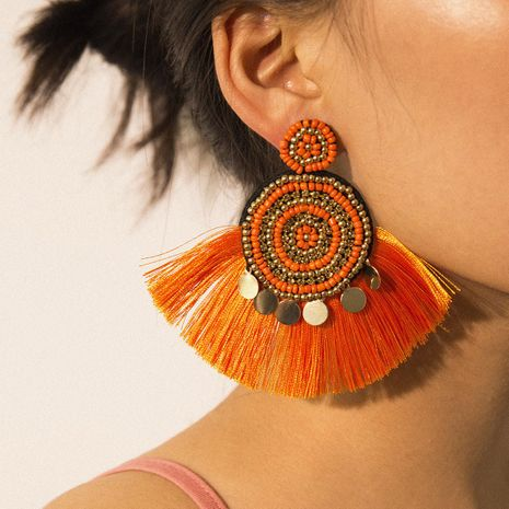 Fan-shaped simple geometric ethnic wind color tassel beads earrings NHXR171370's discount tags