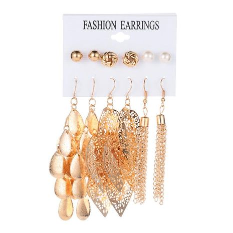 Fashion hollow leaves simple pearl tassel earrings set NHDP171410's discount tags