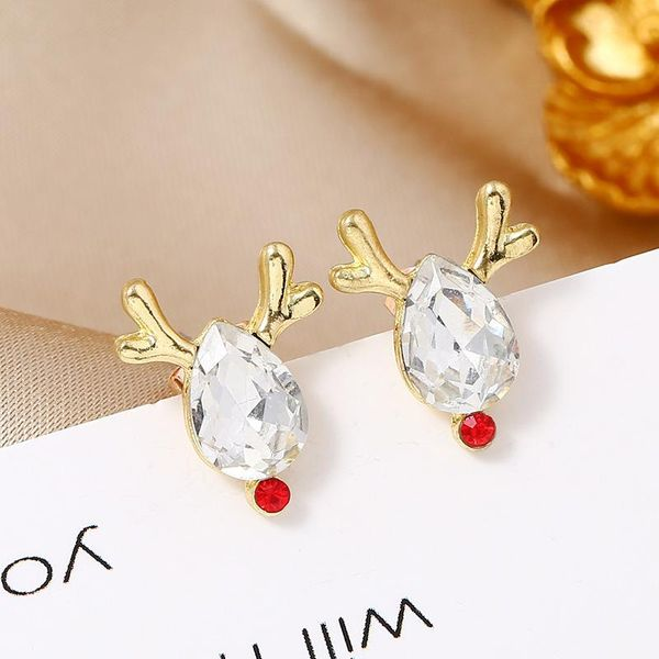 Simple fashion candy color deer gift box Christmas earrings NHKQ171277