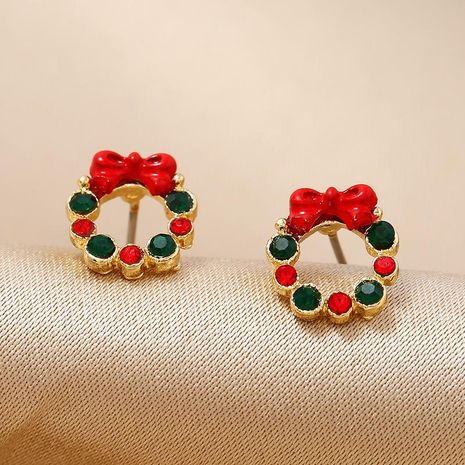 Fashion simple wreath Christmas circle earrings gift NHKQ171289's discount tags