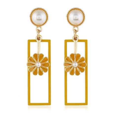 Pearl Square Pop Floral Color Gold Geometric Earrings NHKQ171299's discount tags
