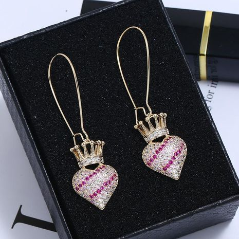 Vintage sweet geometric heart shaped earrings hollowed out love pearls NHKQ171301's discount tags