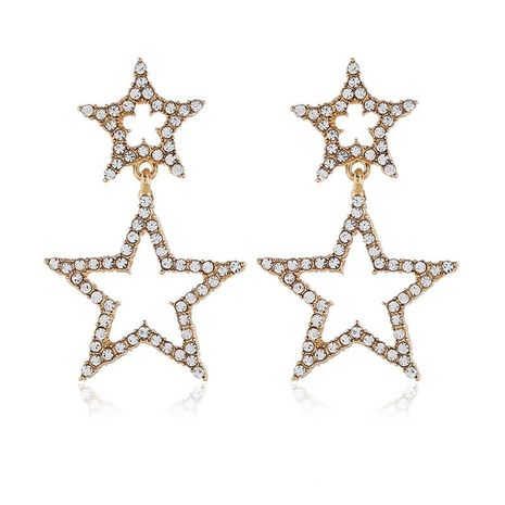Pentagram Rhinestone Pearl Fashion Long Star Circle Hoop Earrings NHKQ171320's discount tags