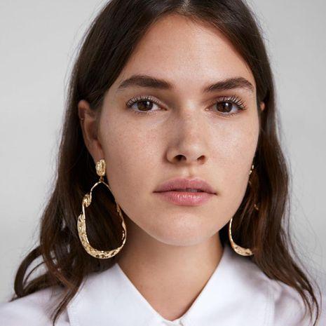 New metal earrings geometric big circle NHMD171435's discount tags