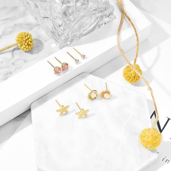 Simple and small fresh starfish pearl shell alloy earrings NHXS171468