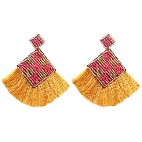 Bohemian new hand-woven rice beads retro ethnic style tassel earrings NHMD171437's discount tags