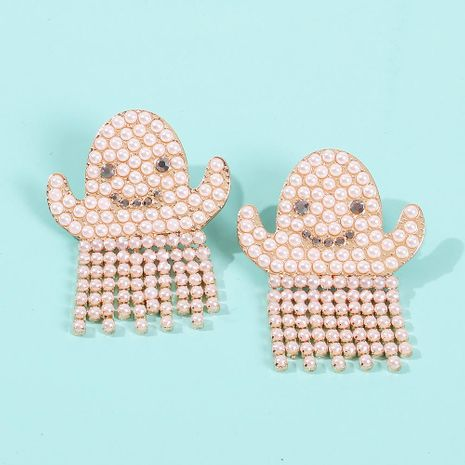 Fun Funny Halloween Ornaments Ghost Earrings Personality Set Pearls NHMD171440's discount tags