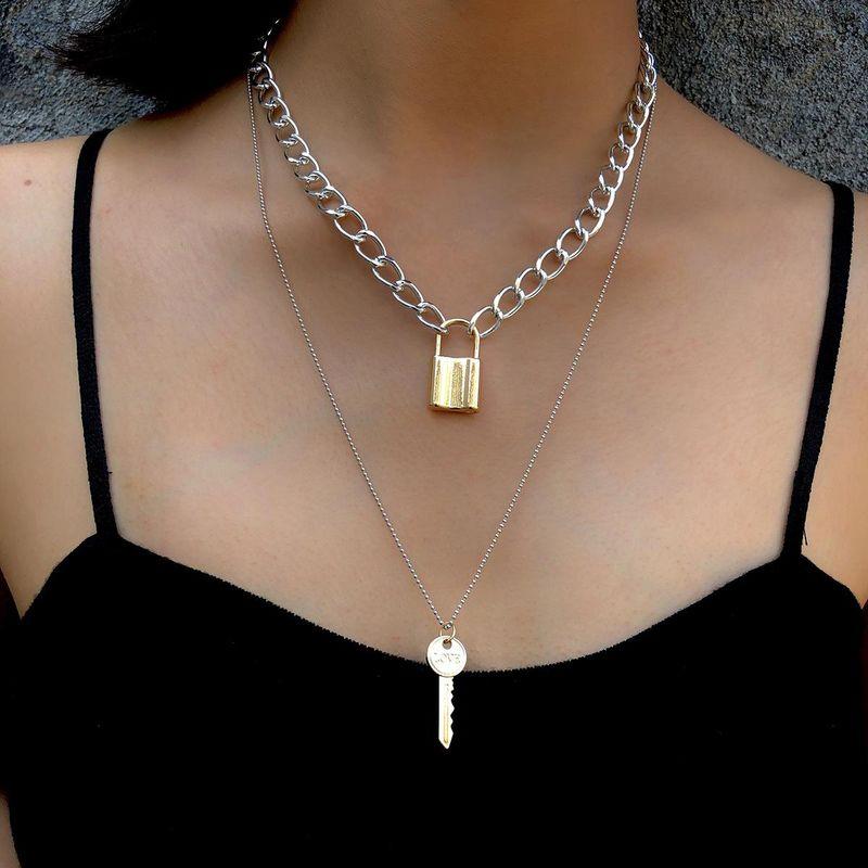 Creative fashion geometric element love key lock necklace NHXR171348