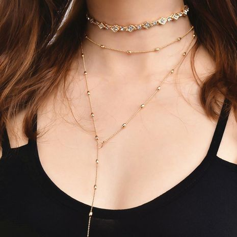 Fashion alloy diamond-studded copper bead chain multi-layer necklace NHXR171359's discount tags