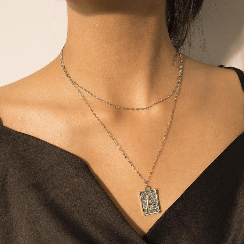 Simple double-layered A letter tag embossed necklace NHXR171365