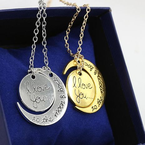 Fashion i love you moon couple love necklace NHDP171379's discount tags
