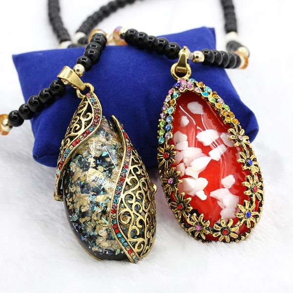 Korean version of the colorful cat eye stone long section of Dominican decorative necklace NHDP171408