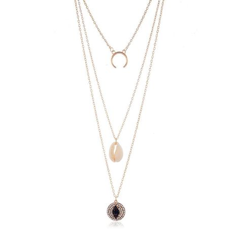 Fashion Irregular Geometric Polygon Alloy Multilayer Shell Conch Beach Wind Necklace NHKQ171317's discount tags