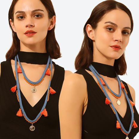 Ethnic style color braided rope sweater chain tassel inlaid rice beads necklace NHMD171443's discount tags