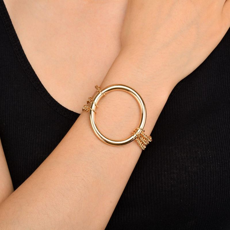Fashion metal punk multi-layer chain iron ring clavicle necklace NHXR171353