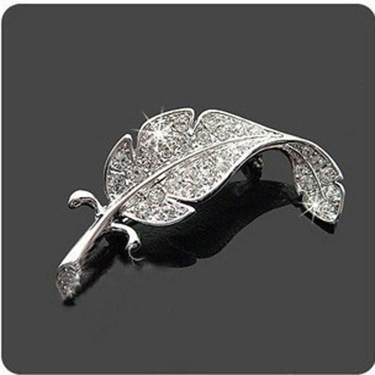 Korean sweet full diamond leaf unisex pin NHDP171416