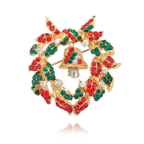 Fashion Diamond Christmas Bell Christmas Suit Alloy Brooch NHGY171264's discount tags