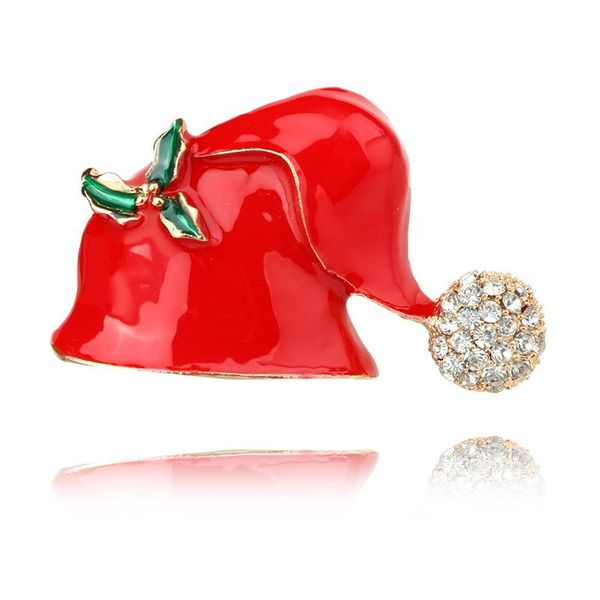 Cute colorful drip with diamonds Christmas hat brooch NHGY171265