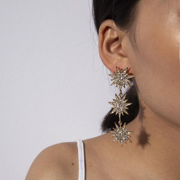 Fashion geometric creative tassel letters earrings long micro-inlaid honey star earrings NHXR171352