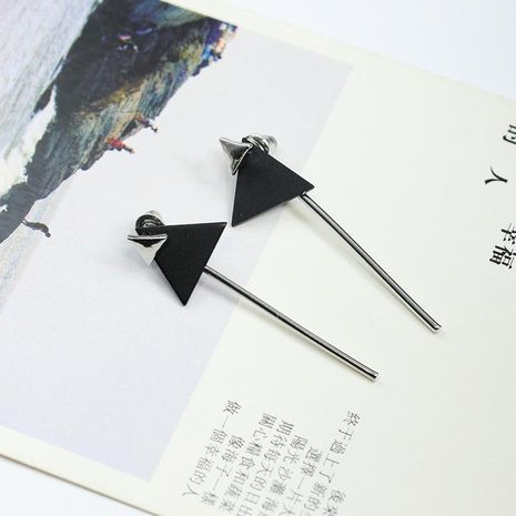Simple geometric double-layer triangle tassel long earrings NHDP171377's discount tags