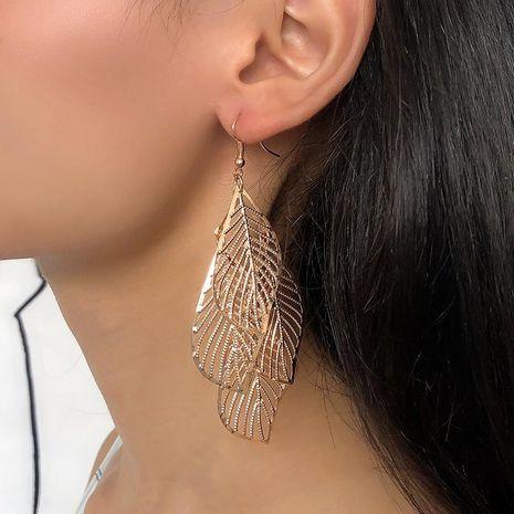 Vintage female earrings simple hollow multi-layer leaf earrings long tassel NHDP171384's discount tags
