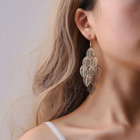Fashion OL simple gold and silver multi-layer hollow leaf earrings NHDP171383's discount tags
