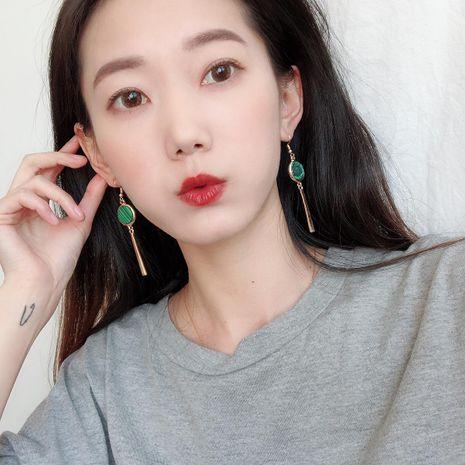 Long geometric turquoise earrings tassel metal sheet green plating NHDP171386's discount tags