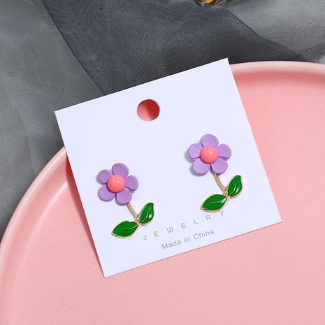 Resin flower earrings long paragraph simple fashion NHKQ171276's discount tags