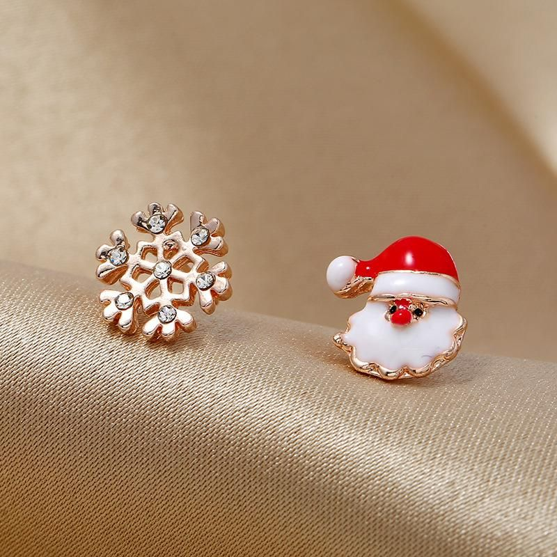 Fashion simple asymmetric candy color old gift box Christmas earrings NHKQ171286