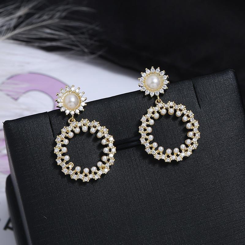 Boho Sun Flower Fresh Fashion Flower Pearl Earrings NHKQ171310