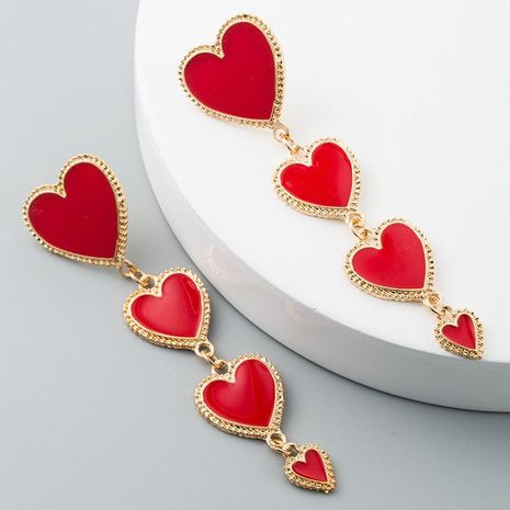 Creative fashion drip heart-shaped tassel alloy earrings NHLN171450's discount tags