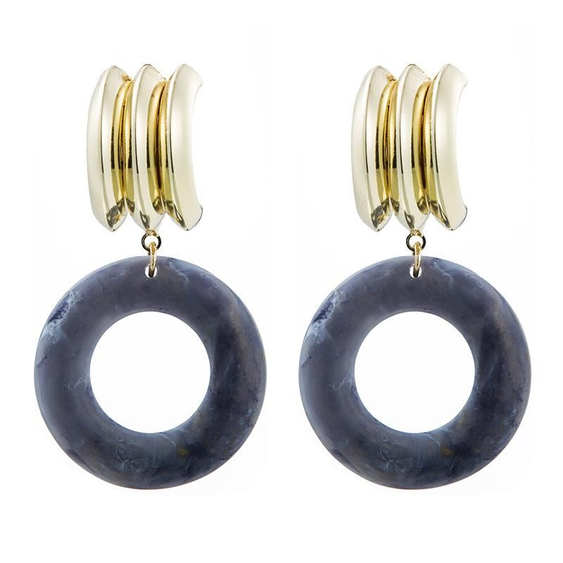 Retro simple acetic acid sheet acrylic round alloy long exaggerated geometric earrings NHLN171454