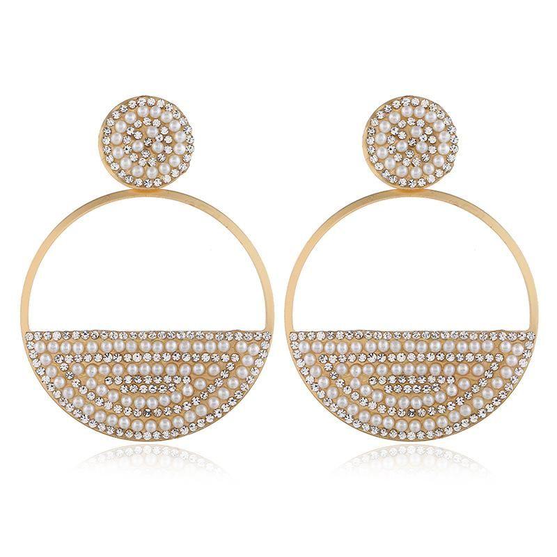 Fashion alloy diamond and pearl earrings long heart shape NHVA171477