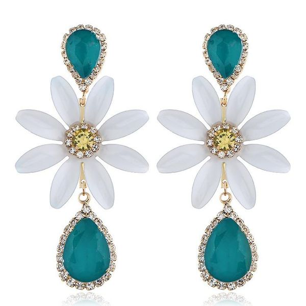 Popular minimalist flower-studded earrings NHVA171480