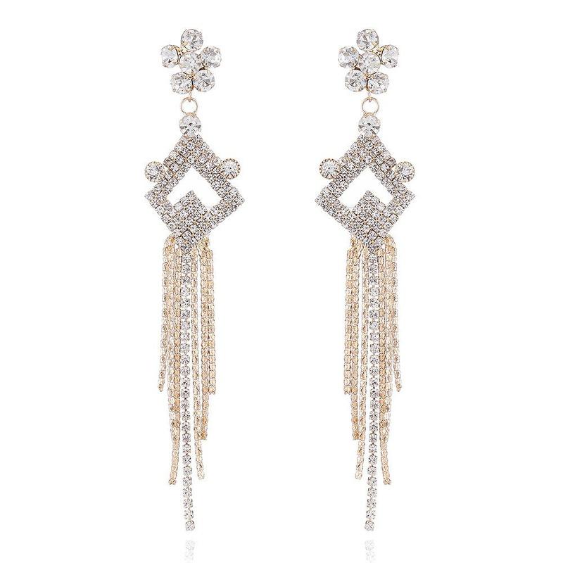 Simple fringed long earrings retro hypoallergenic NHVA171479