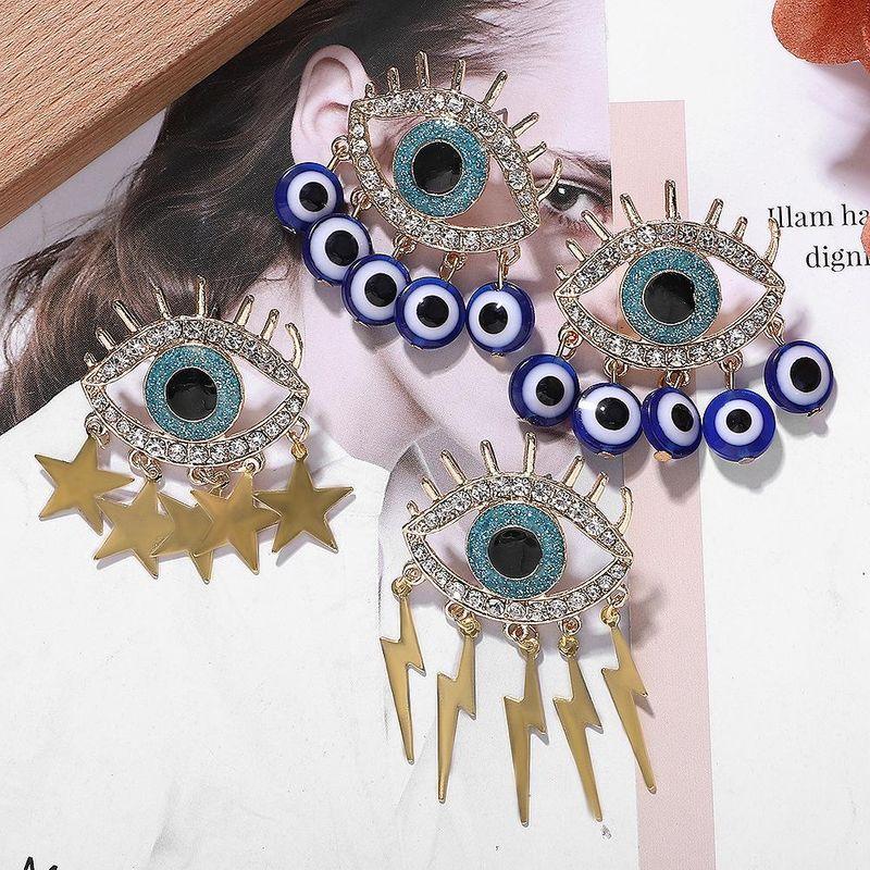Simple Alloy Diamond Eye Earrings Asymmetric Earrings Star Lightning NHJQ171227